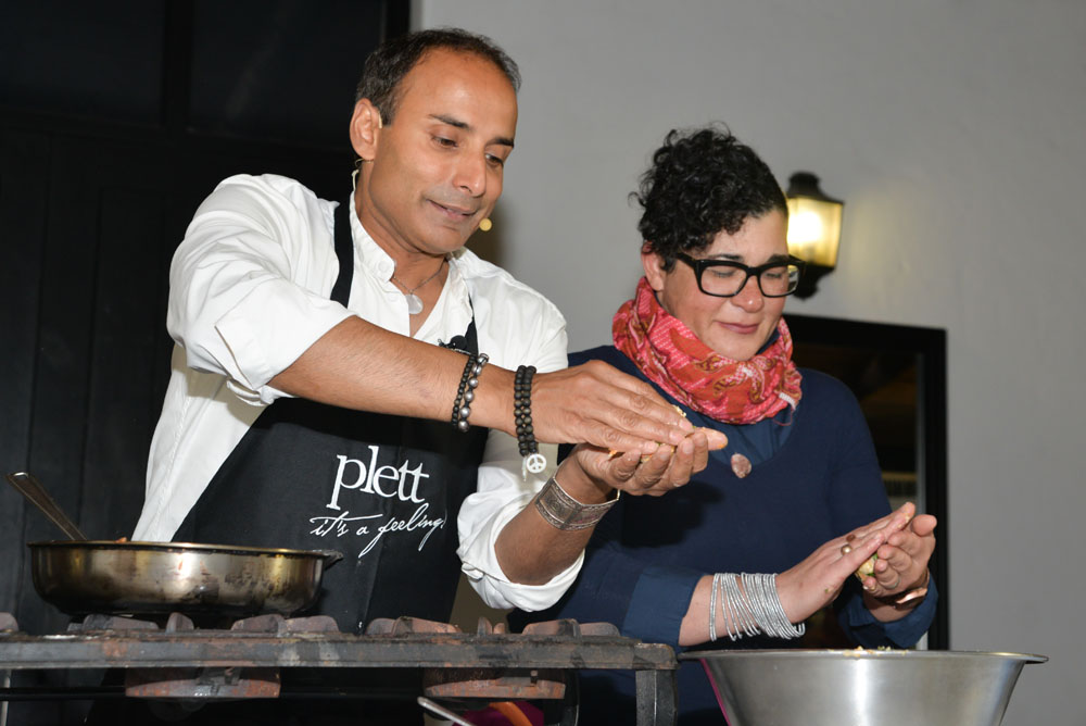 Chefs Reza Mahammad and Karen Dudley demonstrate at the Plett Food Film Festival